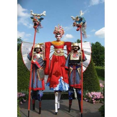 Chinese prinses met twee Samurai-bewakers